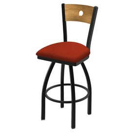 "830 Voltaire 36"" Swivel Counter Stool with Black Wrinkle Finish, Medium Back, and Graph Poppy Seat"
