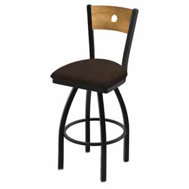 "830 Voltaire 36"" Swivel Counter Stool with Black Wrinkle Finish, Medium Back, and Rein Coffee Seat"
