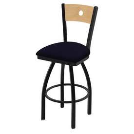 "830 Voltaire 36"" Swivel Counter Stool with Black Wrinkle Finish, Natural Back, and Canter Twilight Seat"