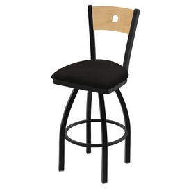 """830 Voltaire 36"""" Swivel Counter Stool with Black Wrinkle Finish, Natural Back, and Canter Espresso Seat"""