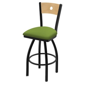 """830 Voltaire 36"""" Swivel Counter Stool with Black Wrinkle Finish, Natural Back, and Canter Kiwi Green Seat"""