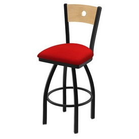 "830 Voltaire 36"" Swivel Counter Stool with Black Wrinkle Finish, Natural Back, and Canter Red Seat"