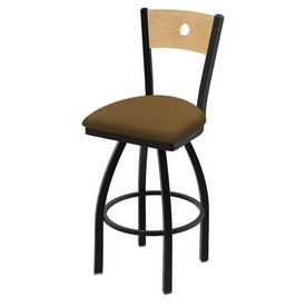 "830 Voltaire 36"" Swivel Counter Stool with Black Wrinkle Finish, Natural Back, and Canter Saddle Seat"