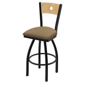 "830 Voltaire 36"" Swivel Counter Stool with Black Wrinkle Finish, Natural Back, and Canter Sand Seat"
