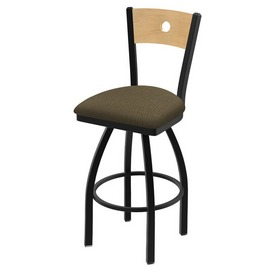 """830 Voltaire 36"""" Swivel Counter Stool with Black Wrinkle Finish, Natural Back, and Graph Cork Seat"""
