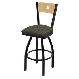 """830 Voltaire 36"""" Swivel Counter Stool with Black Wrinkle Finish, Natural Back, and Graph Chalice Seat"""