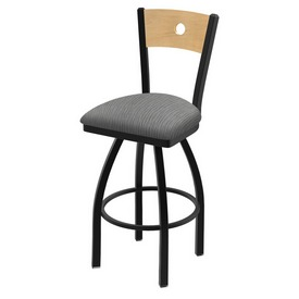 "830 Voltaire 36"" Swivel Counter Stool with Black Wrinkle Finish, Natural Back, and Graph Alpine Seat"