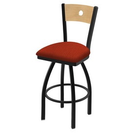 "830 Voltaire 36"" Swivel Counter Stool with Black Wrinkle Finish, Natural Back, and Graph Poppy Seat"