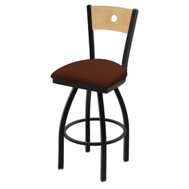 "830 Voltaire 36"" Swivel Counter Stool with Black Wrinkle Finish, Natural Back, and Rein Adobe Seat"