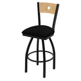 "830 Voltaire 36"" Swivel Counter Stool with Black Wrinkle Finish, Natural Back, and Black Vinyl Seat"