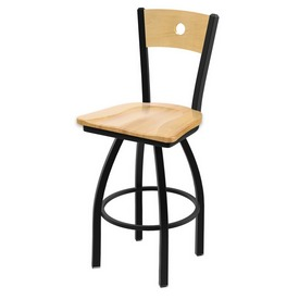 "830 Voltaire 36"" Swivel Counter Stool with Black Wrinkle Finish, Natural Back, and Natural Maple Seat"