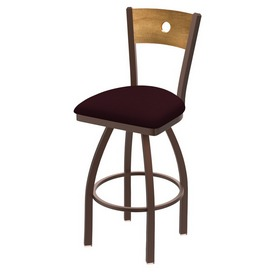 830 Voltaire Swivel Stool with Bronze Finish, Medium Back and Canter Bordeaux Seat