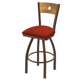 830 Voltaire Swivel Stool with Bronze Finish, Medium Back and Graph Poppy Seat