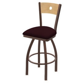 830 Voltaire Swivel Stool with Bronze Finish, Natural Back and Canter Bordeaux Seat