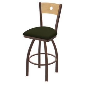 830 Voltaire Swivel Stool with Bronze Finish, Natural Back and Canter Pine Seat