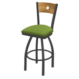 830 Voltaire Swivel Stool with Pewter Finish, Medium Back and Canter Kiwi Green Seat