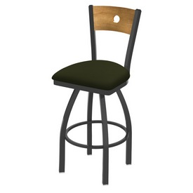 830 Voltaire Swivel Stool with Pewter Finish, Medium Back and Canter Pine Seat