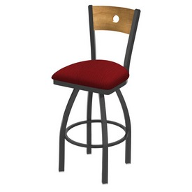830 Voltaire Swivel Stool with Pewter Finish, Medium Back and Graph Ruby Seat