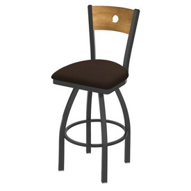 830 Voltaire Swivel Stool with Pewter Finish, Medium Back and Rein Coffee Seat
