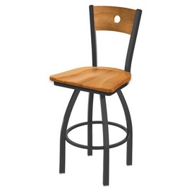 830 Voltaire Swivel Stool with Pewter Finish, Medium Back and Medium Maple Seat