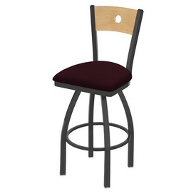 830 Voltaire Swivel Stool with Pewter Finish, Natural Back and Canter Bordeaux Seat