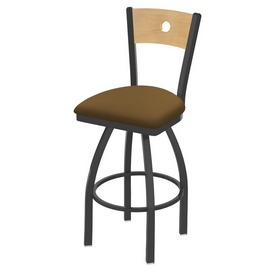 830 Voltaire Swivel Stool with Pewter Finish, Natural Back and Canter Saddle Seat