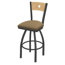 830 Voltaire Swivel Stool with Pewter Finish, Natural Back and Canter Sand Seat