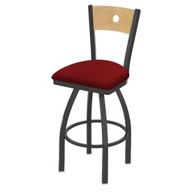 830 Voltaire Swivel Stool with Pewter Finish, Natural Back and Graph Ruby Seat