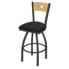 830 Voltaire Swivel Stool with Pewter Finish, Natural Back and Graph Coal Seat