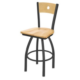 830 Voltaire Swivel Stool with Pewter Finish, Natural Back and Natural Maple Seat
