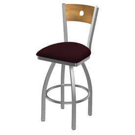 830 Voltaire Swivel Counter Stool with Stainless Finish, Medium Back, and Canter Bordeaux Seat