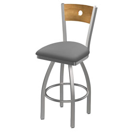 830 Voltaire Swivel Counter Stool with Stainless Finish, Medium Back, and Canter Folkstone Grey Seat