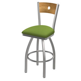 830 Voltaire Swivel Counter Stool with Stainless Finish, Medium Back, and Canter Kiwi Green Seat