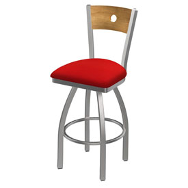 830 Voltaire Swivel Counter Stool with Stainless Finish, Medium Back, and Canter Red Seat