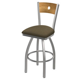 830 Voltaire Swivel Counter Stool with Stainless Finish, Medium Back, and Graph Cork Seat