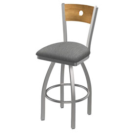 830 Voltaire Swivel Counter Stool with Stainless Finish, Medium Back, and Graph Alpine Seat