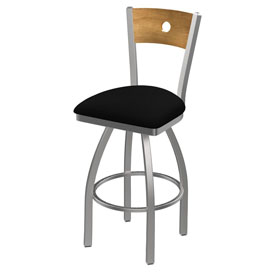 830 Voltaire Swivel Counter Stool with Stainless Finish, Medium Back, and Black Vinyl Seat