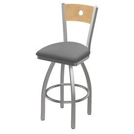 830 Voltaire Swivel Counter Stool with Stainless Finish, Natural Back, and Canter Folkstone Grey Seat