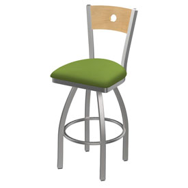 830 Voltaire Swivel Counter Stool with Stainless Finish, Natural Back, and Canter Kiwi Green Seat