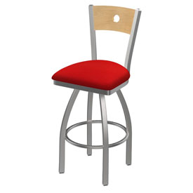830 Voltaire Swivel Counter Stool with Stainless Finish, Natural Back, and Canter Red Seat