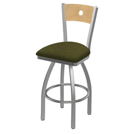 830 Voltaire Swivel Counter Stool with Stainless Finish, Natural Back, and Graph Parrot Seat