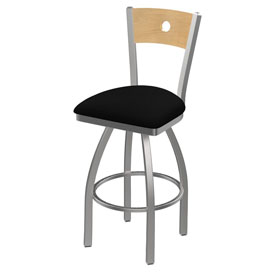 830 Voltaire Swivel Counter Stool with Stainless Finish, Natural Back, and Black Vinyl Seat