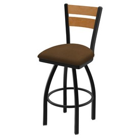 832 Thor Swivel Stool with Black Wrinkle Finish, Medium Back and Rein Thatch Seat