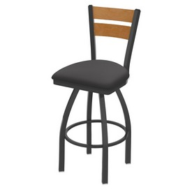 832 Thor Swivel Stool with Pewter Finish, Medium Back and Canter Storm Seat