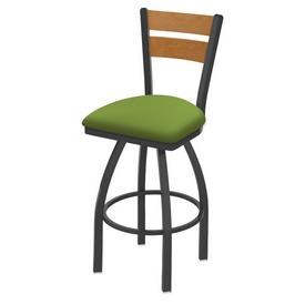 832 Thor Swivel Stool with Pewter Finish, Medium Back and Canter Kiwi Green Seat
