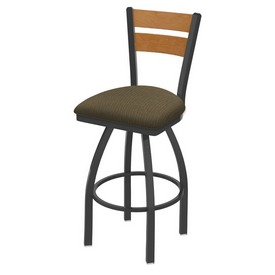 832 Thor Swivel Stool with Pewter Finish, Medium Back and Graph Cork Seat