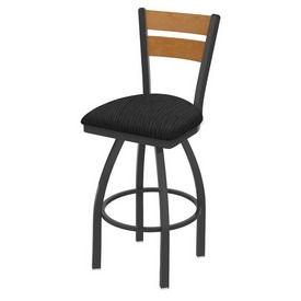 832 Thor Swivel Stool with Pewter Finish, Medium Back and Graph Coal Seat