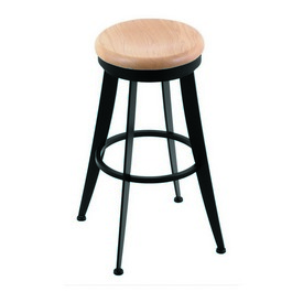 """900 Laser 30"""" Swivel Bar Stool with Black Wrinkle Finish and Natural Oak Seat"""