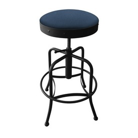 910 Industrial-Adjustable Stool with Black Wrinkle Finish and Rein Bay Seat