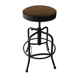 910 Industrial-Adjustable Stool with Black Wrinkle Finish and Rein Thatch Seat